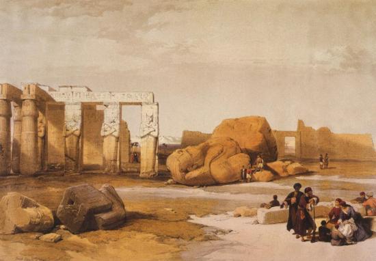 Fragment de Colosses et temple de Ramsès II à Thèbes