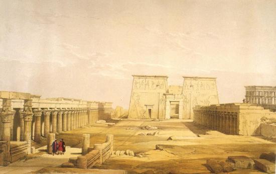 La cour à portique du temple de Philae