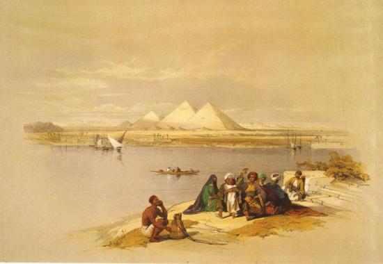 Les pyramides de Gizeh vue depuis le Nil