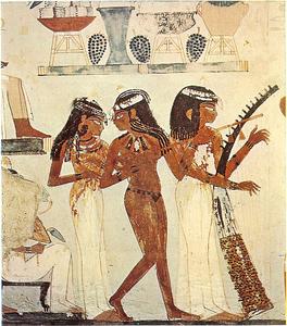 représentation de musiciennes dans la tombe de Nakht