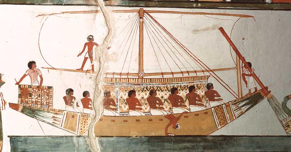 bateau egyptien dans la tombe de menna
