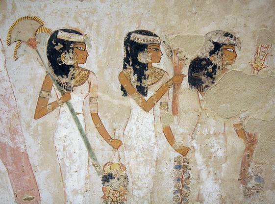 femmes avec des bouquets et sistrum tombe de menna