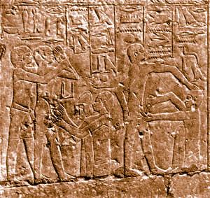 Bas-relief illustrant le rituel de la circoncision Tombeau d'Ankhmahor, Saqqarah (Égypte).