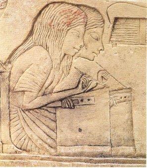 Scribes dans la tombe d'Horemheb.