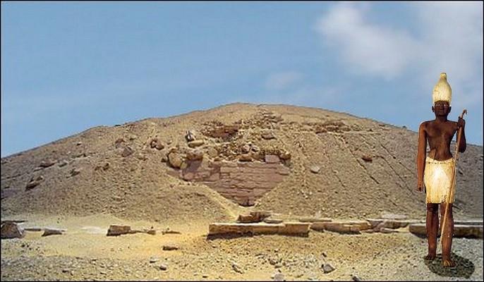 Sesostris 1 devant les restes de sa pyramide